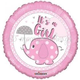 """ΜΠΑΛΟΝΙ FOIL 45cm ΓΙΑ ΓΕΝΝΗΣΗ «It""""s a Girl» ΜΕ ΕΛΕΦΑΝΤΑΚΙ – ΚΩΔ.:16171-BB"""