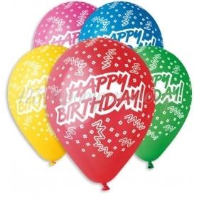 """ΤΥΠΩΜΕΝΑ ΜΠΑΛΟΝΙΑ LATEX «HAPPY BIRTHDAY» ΣΕ 5 ΧΡΩΜΑΤΑ 13"""" (33cm) – ΚΩΔ.:13612201-BB"""