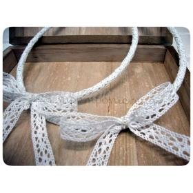 Στεφανα Γαμου Οικονομικα Με Λευκη Δαντελα Και Περλες - Σετ 2 Τμχ - ΚΩΔ:7990-123