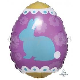 Μπαλονι Foil 16'' 40Cm Junior Shape Αυγο Κιτρινα Και Μπλε Κουνελακια – ΚΩΔ:537006-Bb