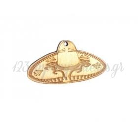 Ξύλινο Καπέλο Σομπρέρο 50x26mm - ΚΩΔ:76040302.001-NG