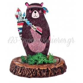 Ξυλινο Εκτυπωμενο Αρκουδακι Boho Πανω Σε Κεραμικο Κορμο 6.5X8Cm - ΚΩΔ:M3901-Ad