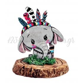 Ξυλινο Εκτυπωμενο Ελεφαντακι Boho Πανω Σε Κεραμικο Κορμο 6.5X8Cm - ΚΩΔ:M3905-Ad