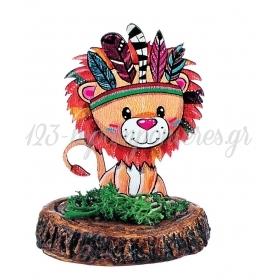 Ξυλινο Εκτυπωμενο Λιονταρι Boho Πανω Σε Κεραμικο Κορμο 6.5X9Cm - ΚΩΔ:M3907-Ad