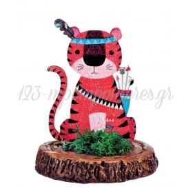 Ξυλινο Εκτυπωμενο Τιγρης Boho Πανω Σε Κεραμικο Κορμο 6.5X9Cm - ΚΩΔ:M3912-Ad