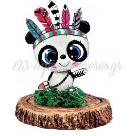 Ξυλινο Εκτυπωμενο Panda Boho Πανω Σε Κεραμικο Κορμο 6.5X8Cm - ΚΩΔ:M3914-Ad
