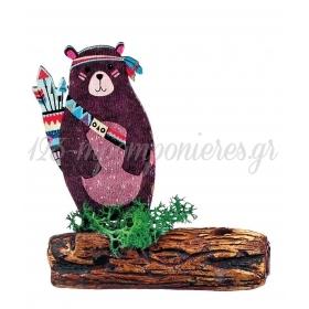 Ξυλινο Εκτυπωμενο Αρκουδακι Boho Πανω Σε Κεραμικο Κορμο 7.5X8.5Cm - ΚΩΔ:M3918-Ad