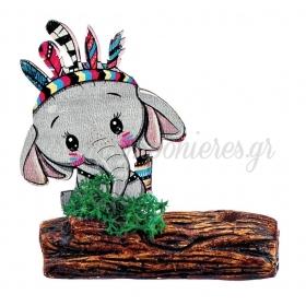 Ξυλινο Εκτυπωμενο Ελεφαντακι Boho Πανω Σε Κεραμικο Κορμο 7.5X8.5Cm - ΚΩΔ:M3919-Ad