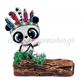 Ξυλινο Εκτυπωμενο Panda Boho Πανω Σε Κεραμικο Κορμο 7.5X8.5Cm - ΚΩΔ:M3921-Ad