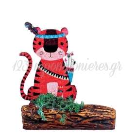 Ξυλινο Εκτυπωμενο Τιγρης Boho Πανω Σε Κεραμικο Κορμο 7.5X8.5Cm - ΚΩΔ:M3925-Ad