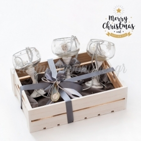 Χριστουγεννιάτικο Σετ Δώρου Ποτήρια Με Ασημί-Χρυσές Αποχρώσεις - ΚΩΔ:19178-PR