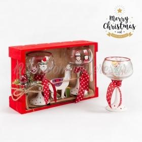 Χριστουγεννιάτικο Σετ Δώρου Ποτήρια Με Κόκκινες-λευκές Αποχρώσεις - ΚΩΔ:19179-PR