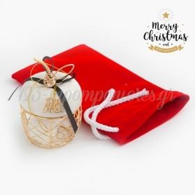 Χριστουγεννιάτικο Γούρι Μήλο Με Βελούδινο Πουγκί - ΚΩΔ:19242-PR