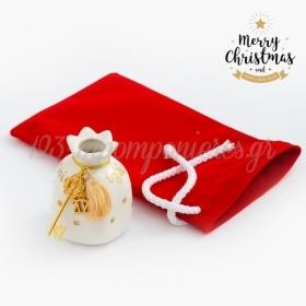 Χριστουγεννιάτικο Γούρι Ρόδι Με Βελούδινο Πουγκί - ΚΩΔ:19244-PR
