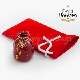 Χριστουγεννιάτικο Γούρι Ρόδι Με Βελούδινο Πουγκί - ΚΩΔ:19249-PR