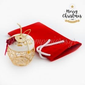 Χριστουγεννιάτικο Γούρι Μήλο Με Βελούδινο Πουγκί - ΚΩΔ:19252-PR