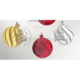 "Plexiglass Διπλη Μπαλα ""Happy New Year"" 5Χ6Cm - ΚΩΔ:M4530-Ad"