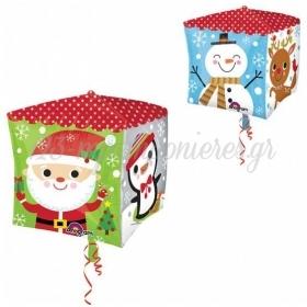 Μπαλονι Foil Κυβος Με Χριστουγεννιατικες Παραστασεις 38Cm - ΚΩΔ:529400-Bb