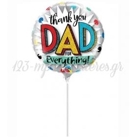 """ΜΠΑΛΟΝΙ FOIL 9""""(23cm) MINI SHAPE THANK YOU DAD - ΚΩΔ:73651-BB"""