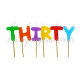 """Πολυχρωμα Κερακια """"Thirty"""" - ΚΩΔ:Tp0032-Bb"""