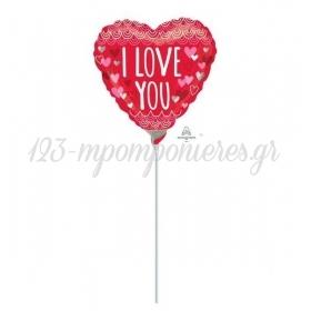 """ΜΠΑΛΟΝΙ FOIL 9""""(23cm) MINI SHAPE ΚΟΚΚΙΝΗ ΚΑΡΔΙΑ 'I Love You' ΚΑΡΔΟΥΛΕΣ - ΚΩΔ:534376-BB"""