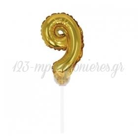 Μπαλονι Foil 7''(18Cm) Αριθμος Τουρτας 9 Χρυσο - ΚΩΔ:206418-9-Bb