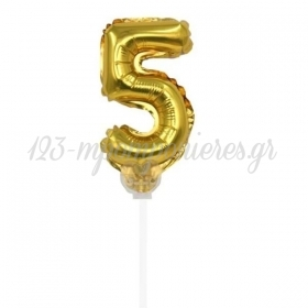 Μπαλονι Foil 7''(18Cm) Αριθμος Τουρτας 5 Χρυσο - ΚΩΔ:206418-5-Bb