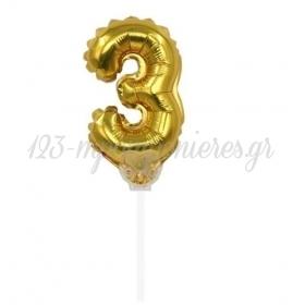 Μπαλονι Foil 7''(18Cm) Αριθμος Τουρτας 3 Χρυσο - ΚΩΔ:206418-3-Bb