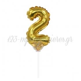 Μπαλονι Foil 7''(18Cm) Αριθμος Τουρτας 2 Χρυσο - ΚΩΔ:206418-2-Bb