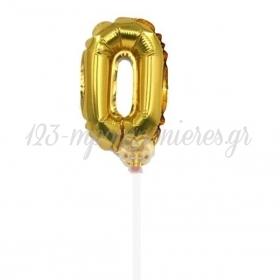 Μπαλονι Foil 7''(18Cm) Αριθμος Τουρτας 0 Χρυσο - ΚΩΔ:206418-0-Bb