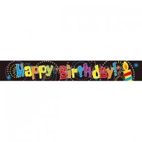 BANNER FOIL HAPPY BIRTHDAY ΜΑΥΡΟ - ΚΩΔ:206414-BB