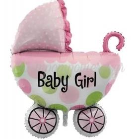 ΜΠΑΛΟΝΙ FOIL 65X58cm ΚΑΡΟΤΣΑΚΙ BABY GIRL - ΚΩΔ:206384-BB