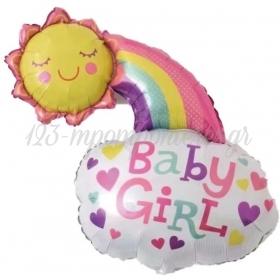 ΜΠΑΛΟΝΙ FOIL 65X50cm BABY GIRL ΗΛΙΟΣ & ΟΥΡΑΝΙΟ ΤΟΞΟ - ΚΩΔ:206380-BB