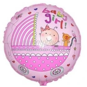 """ΜΠΑΛΟΝΙ FOIL 18""""(45cm) BABY GIRL ΚΑΡΟΤΣΑΚΙ - ΚΩΔ:206379-BB"""