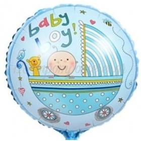 """ΜΠΑΛΟΝΙ FOIL 18""""(45cm) BABY BOY ΚΑΡΟΤΣΑΚΙ - ΚΩΔ:206378-BB"""