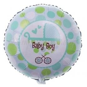 """ΜΠΑΛΟΝΙ FOIL 18""""(45cm) BABY BOY ΚΑΡΟΤΣΙ - ΚΩΔ:206377-BB"""