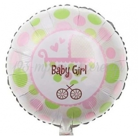 """ΜΠΑΛΟΝΙ FOIL 18""""(45cm) BABY GIRL ΚΑΡΟΤΣΙ - ΚΩΔ:206376-BB"""