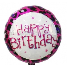 ΜΠΑΛΟΝΙ FOIL 18''(45cm) HAPPY BIRTHDAY ΦΟΥΞΙΑ ANIMAL PRINT - ΚΩΔ:206368-BB