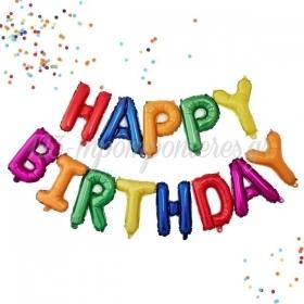 """ΜΠΑΛΟΝΙ FOIL 16""""(40cm) RAINBOW """"Happy Birthday"""" - ΚΩΔ:206360-1-BB"""
