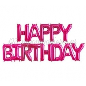 """ΜΠΑΛΟΝΙ FOIL 16""""(40cm) ΦΟΥΞΙΑ """"Happy Birthday"""" - ΚΩΔ:206360-2-BB"""
