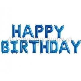 """ΜΠΑΛΟΝΙ FOIL 16""""(40cm) ΜΠΛΕ """"Happy Birthday"""" - ΚΩΔ:206360-3-BB"""