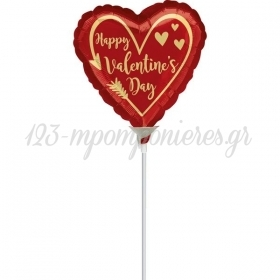 ΜΠΑΛΟΝΙΑ FOIL 9''(23cm) MINI SHAPE ΚΟΚΚΙΝΗ ΚΑΡΔΙΑ 'Happy Valentine's Day' ΒΕΛΟΣ - ΚΩΔ:540594-BB