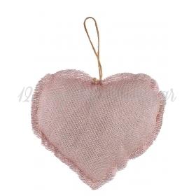 Μαξιλαρακι Με Γαζα Ροζ Χρυσο Καρδια 15X13Cm - ΚΩΔ:M1875-Ad