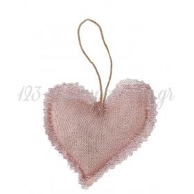 Μαξιλαρακι Με Γαζα Ροζ Χρυσο Καρδια 10X9Cm - ΚΩΔ:M1877-Ad