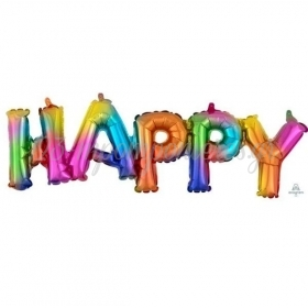 ΜΠΑΛΟΝΙ FOIL 76X25cm HAPPY RAINBOW - ΚΩΔ:539180-BB