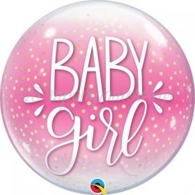 ΜΠΑΛΟΝΙ FOIL 22''(56cm) BUBBLE BABY GIRL PINK & CONFETTI DOTS - ΚΩΔ:10035-BB