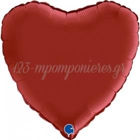 """ΜΠΑΛΟΝΙ FOIL 18""""(45cm) ΣΑΤΕΝ RUBIN RED ΚΑΡΔΙΑ - ΚΩΔ:180s05-BB"""