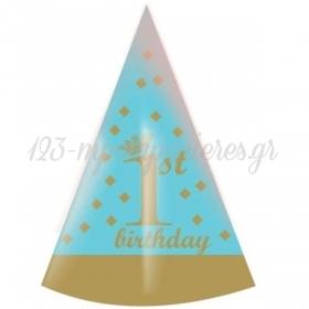 ΚΑΠΕΛΑΚΙ ΠΑΡΤΥ ΜΠΛΕ & ΧΡΥΣΟ 1ST BIRTHDAY - ΚΩΔ:P259111-42-BB
