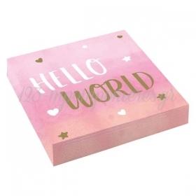 Χαρτοπετσετες Oh Baby Girl Hello World - Baby Shower - ΚΩΔ:9906906-Bb
