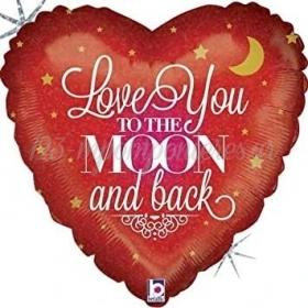 """ΜΠΑΛΟΝΙ FOIL 18""""(45cm) ΚΟΚΚΙΝΗ ΚΑΡΔΙΑ LOVE YOU TO THE MOON AND BACK - ΚΩΔ:36092-BB"""